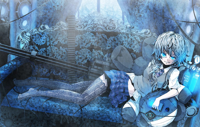 Photo wallpaper girl, weapons, sofa, skirt, stockings, anime, tie, lies, minigun