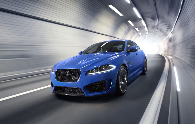 Photo wallpaper auto, Jaguar, Blue, Jaguar, The hood, Lights, The tunnel, the front, XFR-S, In motion