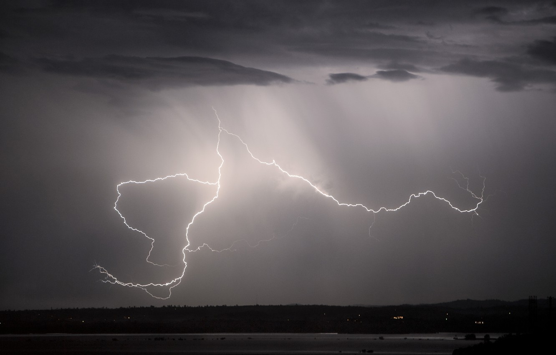Photo wallpaper the sky, night, lightning