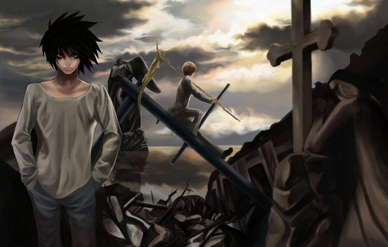Photo wallpaper the sky, cross, destruction, Yagami, Kira, Death Note, Light, death note, Ryuzaki