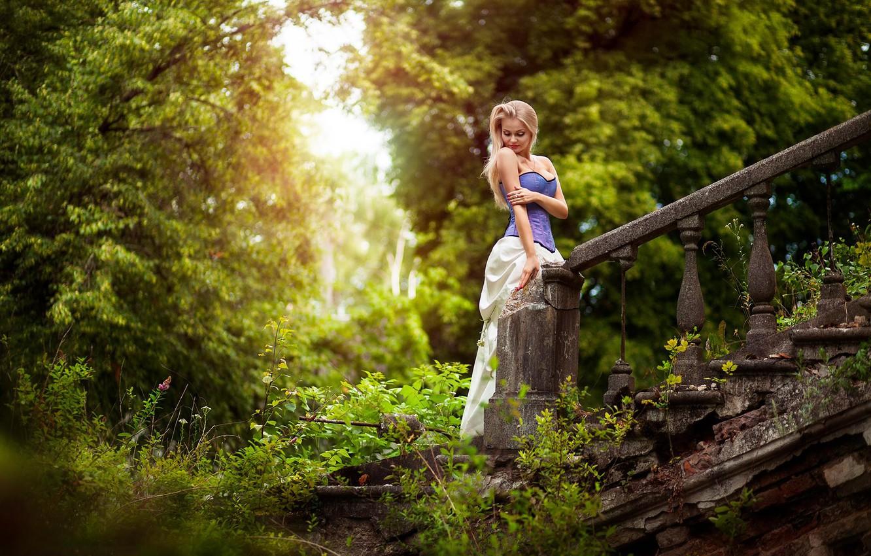 Photo wallpaper greens, forest, girl, trees, tale, dress, ladder, corset, ruins, photographer, old, Cinderella, Anton Komar