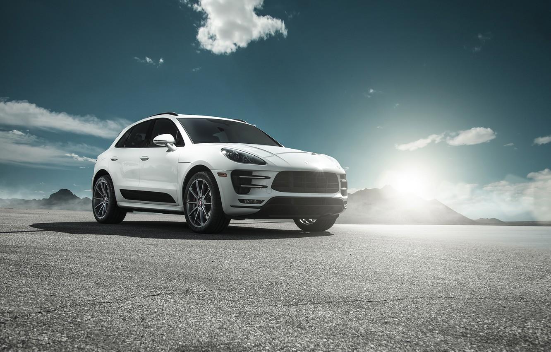 Photo wallpaper car, Porsche, white, Macan