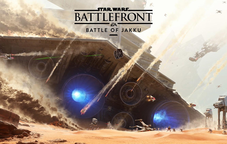 Photo wallpaper The sky, Smoke, Desert, The explosion, Ship, Battle, Rays, Electronic Arts, DLC, Star Wars: Battlefront, …