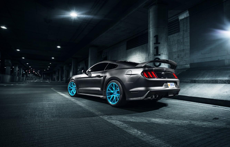 Photo wallpaper Mustang, Ford, Blue, Vossen, Wheels, Rear, Roush X