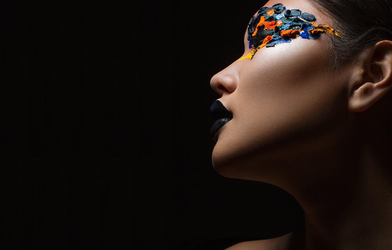 Photo wallpaper girl, face, makeup, profile, black background