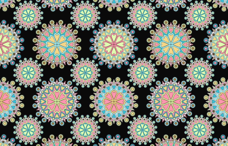 Photo wallpaper pattern, texture, ornament, black background