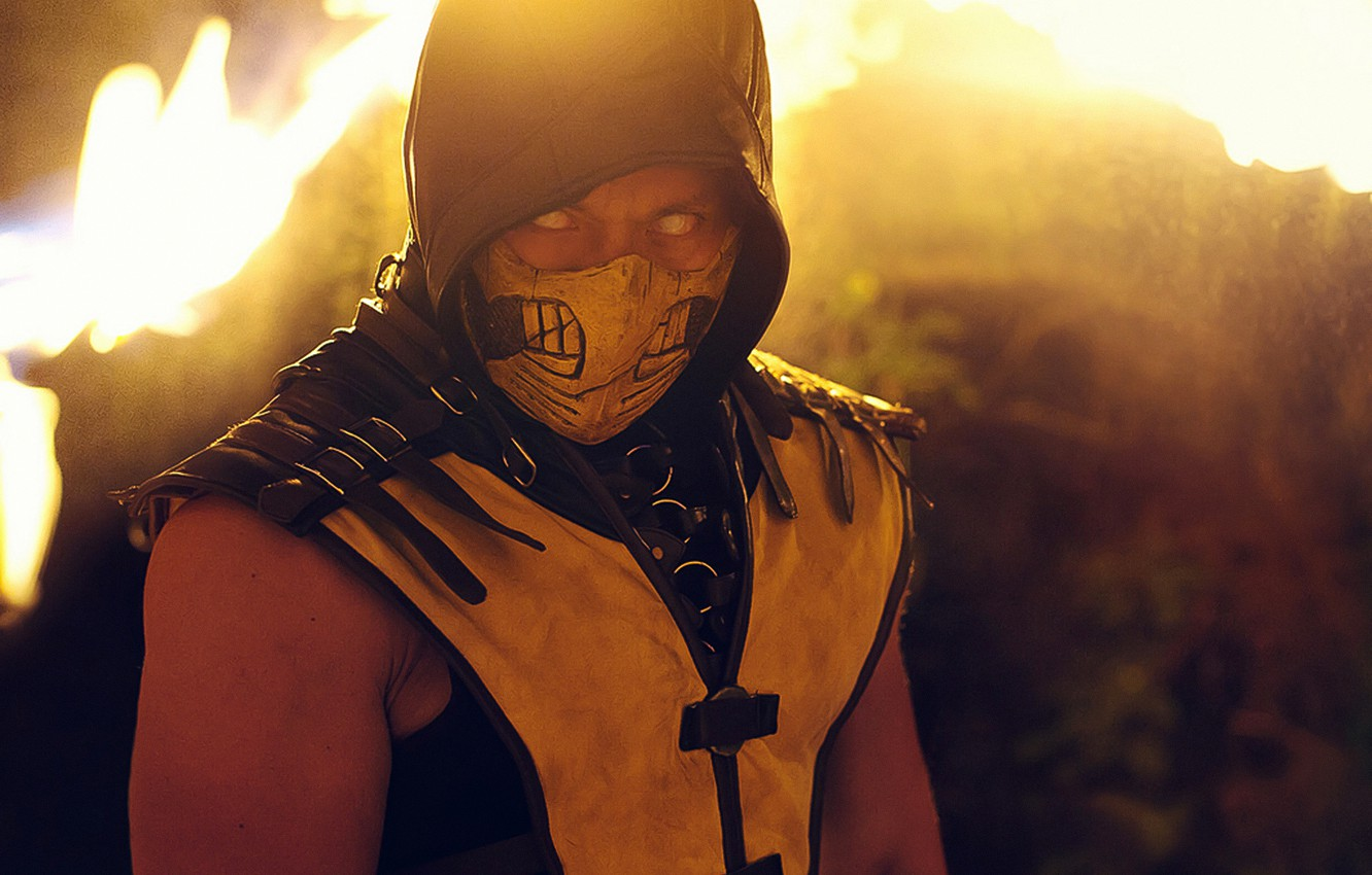 Photo wallpaper Yellow, Scorpion, Kombat, Mortal, Mask, Cosplay, MKX