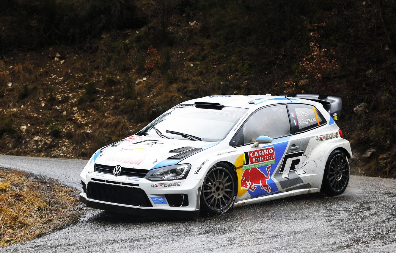 Photo wallpaper Auto, Volkswagen, Speed, Turn, WRC, Rally, Polo, Overcast, Sebastien Ogier