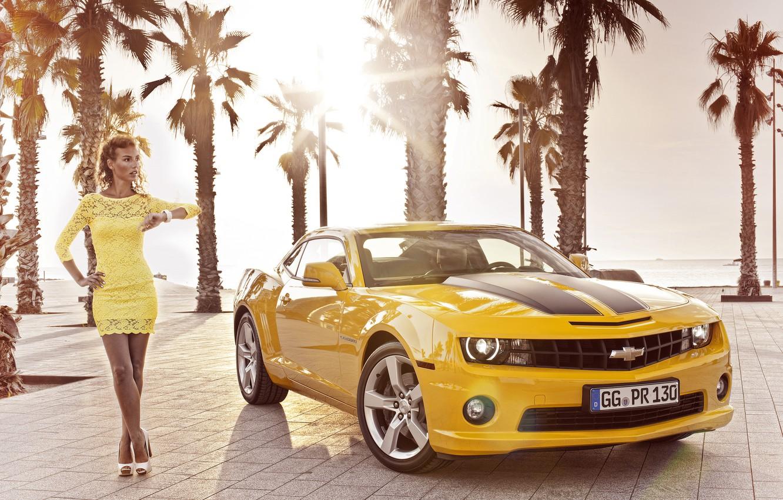 Photo wallpaper girl, palm trees, Wallpaper, 2012, Chevrolet, camaro, chevrolet, wallpapers, Camaro, Girl Cars