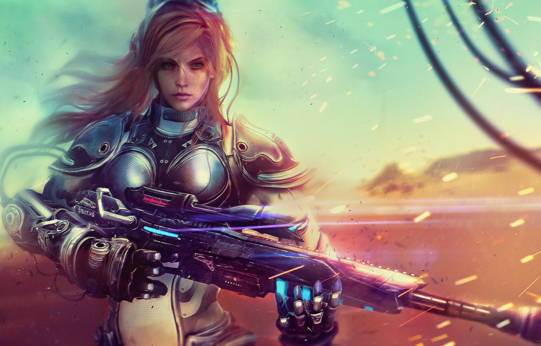Photo wallpaper girl, art, soldiers, blonde, StarCraft, sniper rifle, Nova Terra
