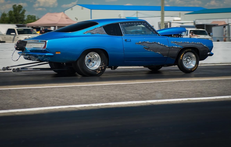 Photo wallpaper race, muscle car, Barracuda, Plymouth Barracuda, drag racing