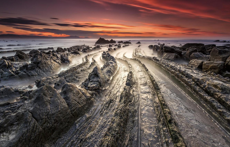 Photo wallpaper landscape, rock. shore, Barrika, Basque Country