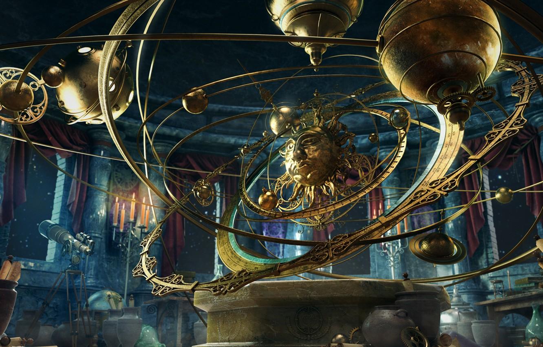 Photo wallpaper fantasy, planet, candles, steampunk, vases, planetarium