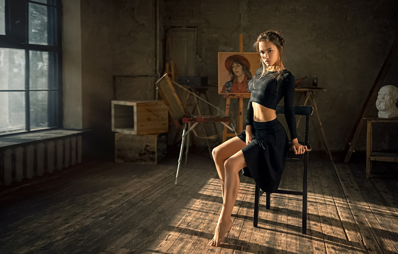 Photo wallpaper Girl, Look, Room, Chair, Legs, Anastasia Lis