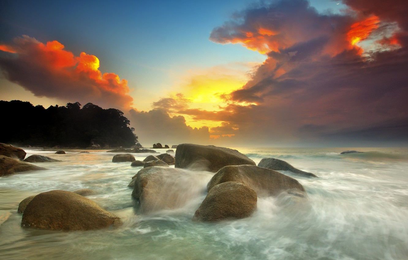 Photo wallpaper sea, wave, clouds, sunset, clouds, stones, threads, blocks