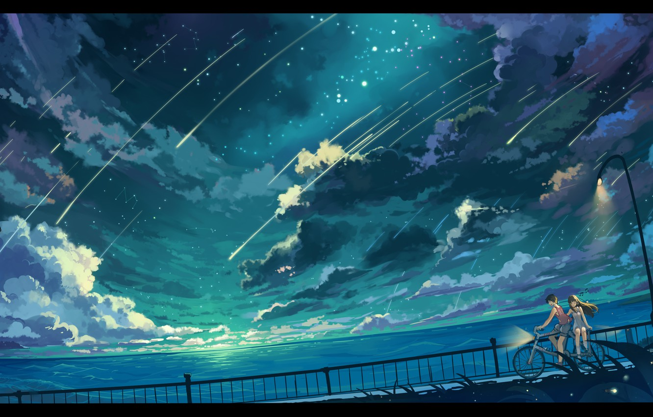Photo wallpaper the sky, girl, stars, clouds, landscape, nature, bike, the ocean, anime, art, lights, guy, haraguroi …