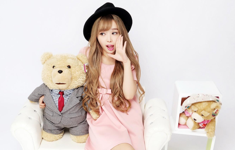 Photo wallpaper girl, mood, toy, hat, bear