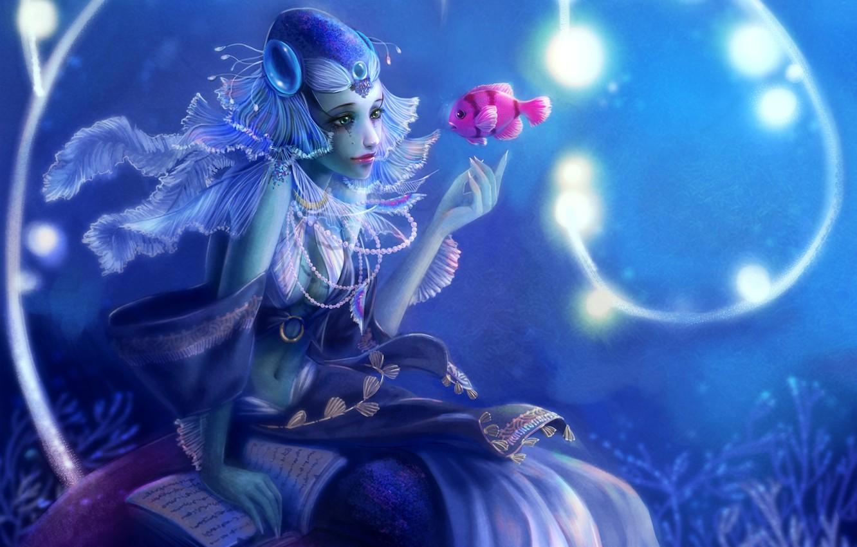 Photo wallpaper girl, mermaid, fish, fish, fantasy, art, beads, book, under water, Yangtian Li