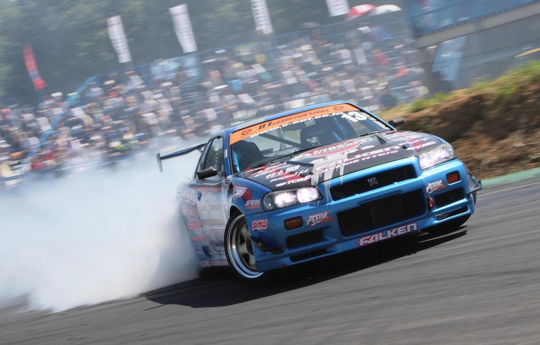 Photo wallpaper nissan, turbo, wheels, drift, skyline, japan, smoke, Nissan, jdm, tuning, gtr, front, speed, burnout, r34, …