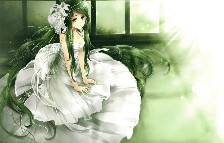 Photo wallpaper girl, light, flowers, Dress, the bride, green hair