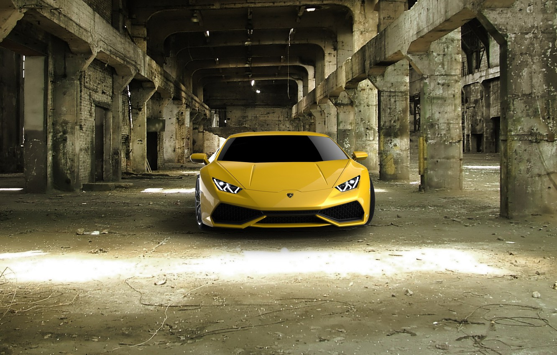 Photo wallpaper Lamborghini, yellow, Hurricane, full face