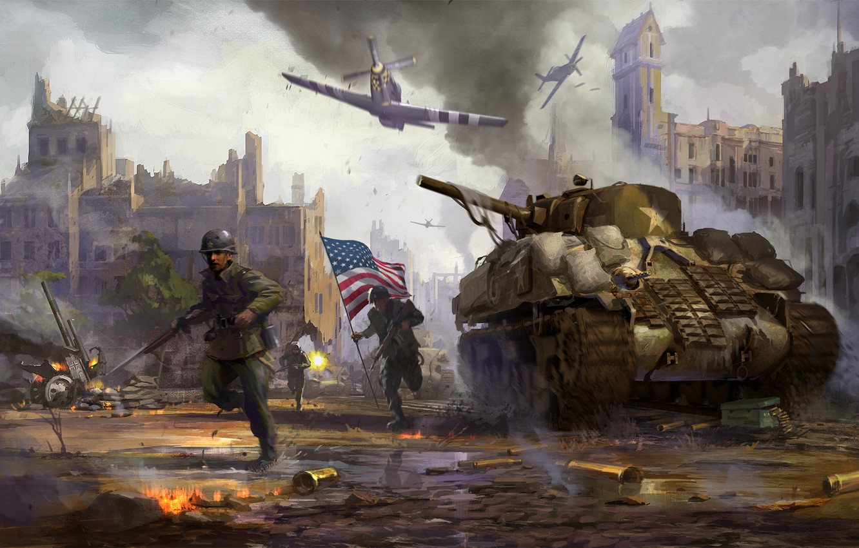 Wallpaper the city, weapons, war, smoke