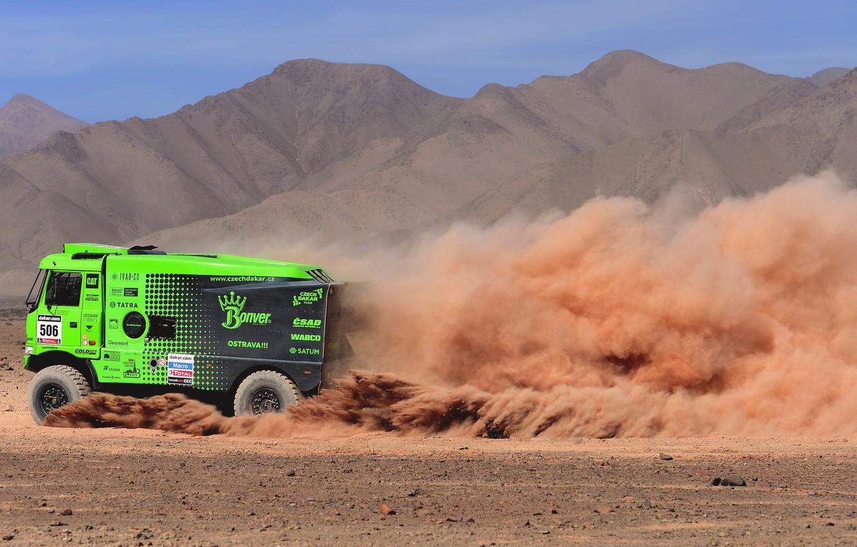 Photo wallpaper Dust, Sport, Desert, Green, Truck, Race, Heat, Rally, Dakar, Championship, Side view, Ginaf, X 222, …