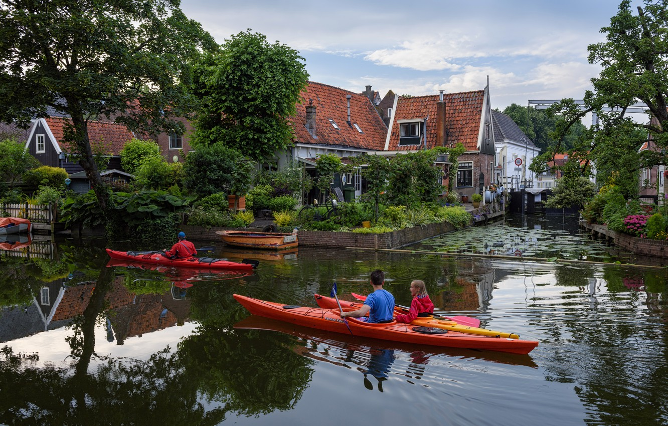 Photo wallpaper trees, home, boats, channel, Netherlands, Canoeing, Edam