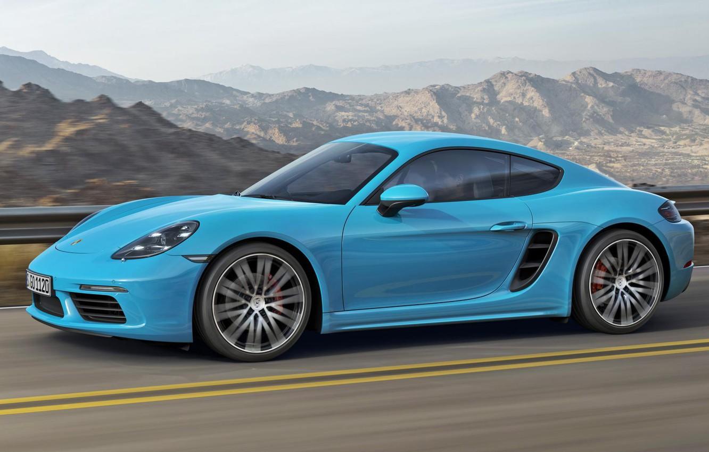 Photo wallpaper Porsche, Cayman, Blue, Porsche, Blue, Coupe, 718