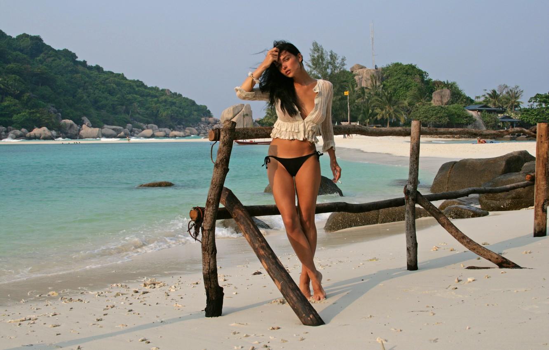 Photo wallpaper sand, sea, beach, girl, tropics, palm trees, panties, tan, brunette, Bay, legs, sexy, jenya d, …