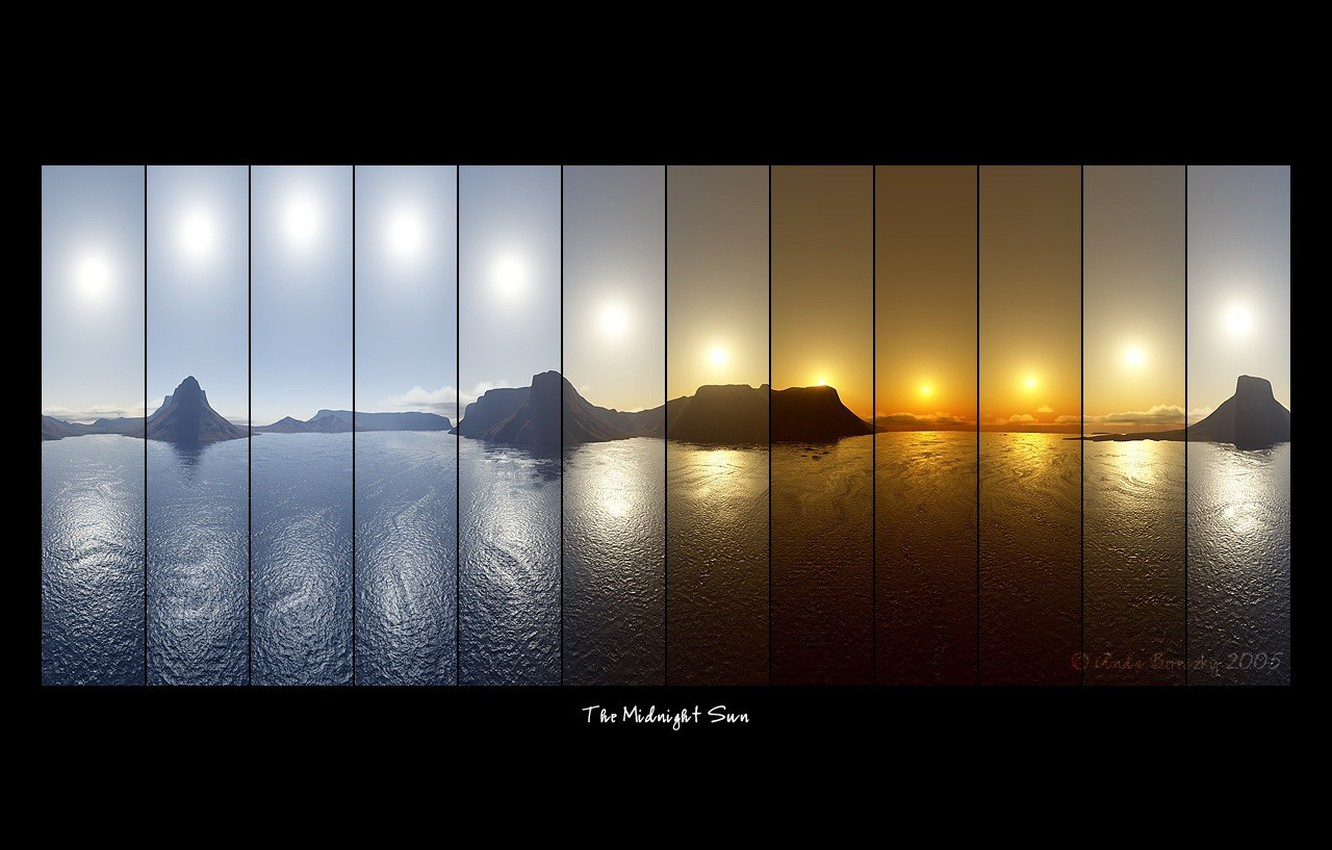 Photo wallpaper sea, the sun, mountains, labels, lineup, The Midnight Sun, collage, photography