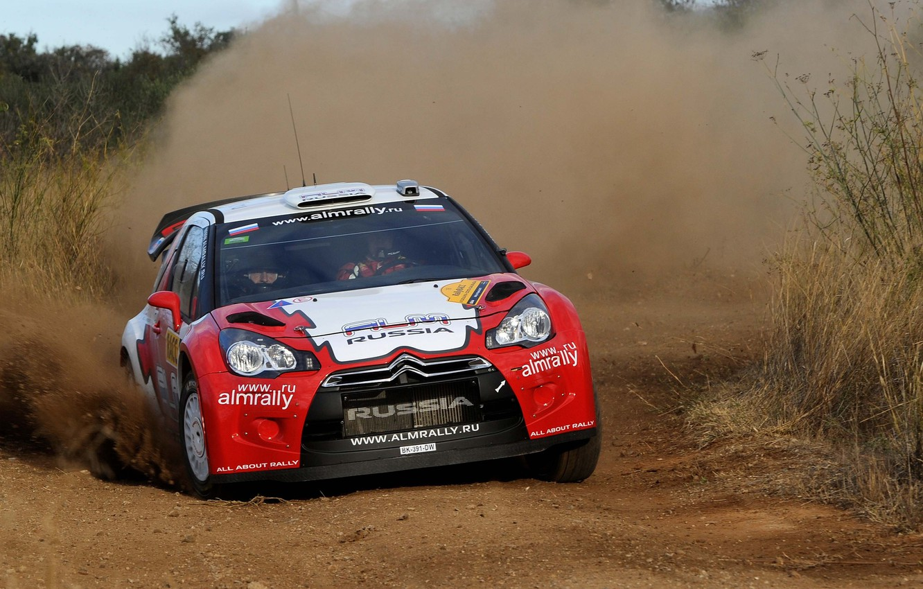 Photo wallpaper Dust, Sport, Skid, Citroen, DS3, WRC, Rally, Rally, Competition