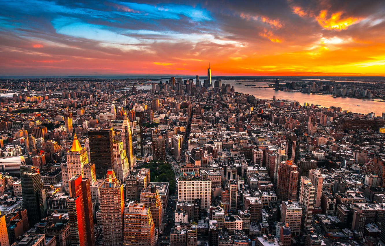 Photo wallpaper City, Clouds, Sky, Sunset, New York, Street, Skyline, Architecture, Homes