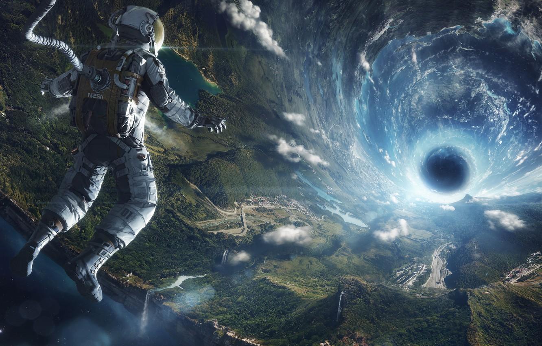 Photo wallpaper flight, earth, the universe, the suit, black hole, Astronaut