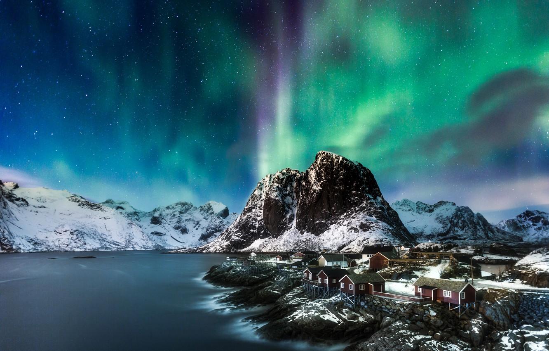 Photo wallpaper sea, mountains, rocks, Norway, Northern lights, house, The Lofoten Islands