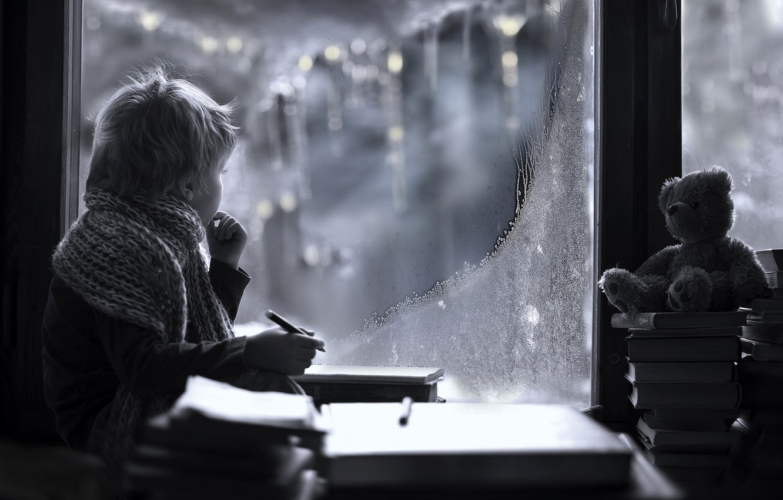 Photo wallpaper winter, look, toy, books, child, boy, scarf, window, frost, bear, pencil, Elena Shumilova