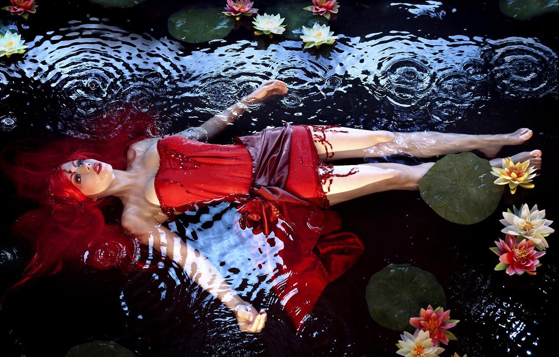 Photo wallpaper water, girl, red, background, hair, dress, beautiful, lies, water lilies, Stefan Grosjean