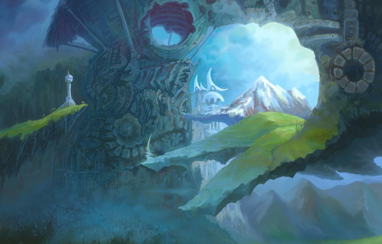 Photo wallpaper dream, mountains, the city, fantasy