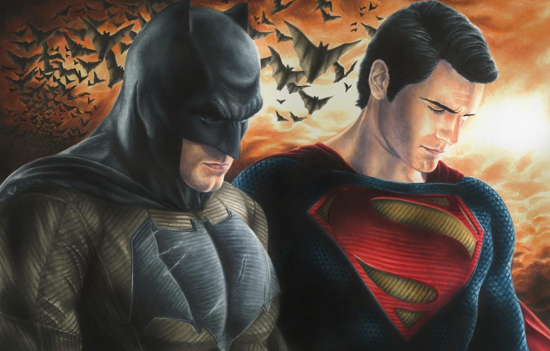 Photo wallpaper Batman, dark knight, Superman, DC Comics, Henry Cavill, man of steel, Ben Affleck, Batman v ...