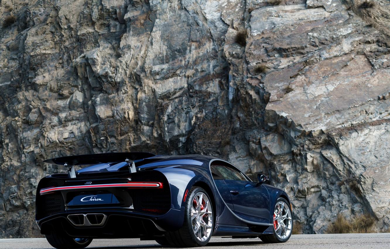 Photo wallpaper auto, Bugatti, Bugatti, back, hypercar, exhausts, Chiron