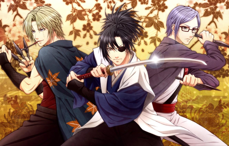 Photo wallpaper leaves, weapons, sword, guys, daggers, Gintama, Yagyuu Kyuubei, Sarutobi Ayame, Tsukuyo