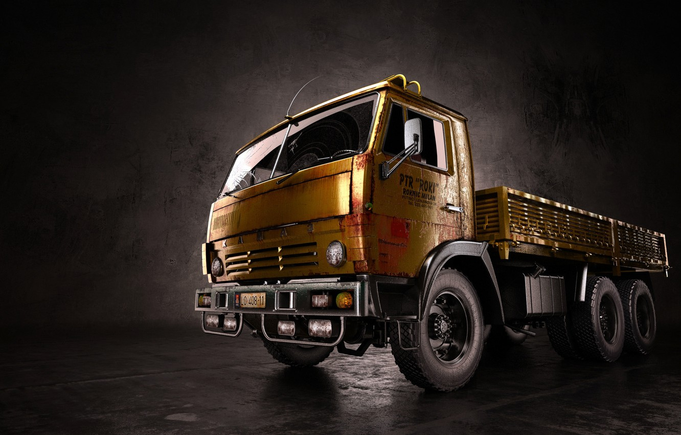 Photo wallpaper truck, render, KAMAZ