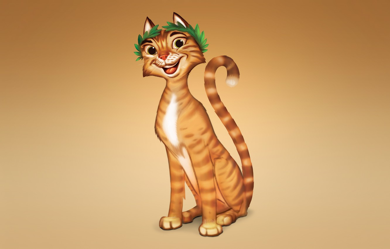 Photo wallpaper cat, cat, orange, smile, red, light background