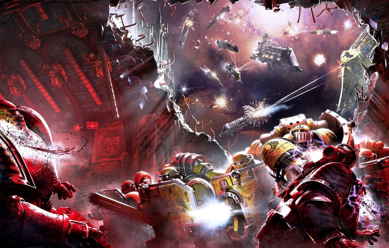 Photo wallpaper ships, Horus Heresy, Warhammer 40000, storm, space Marines, the battle in space, Shadows of Treachery, …