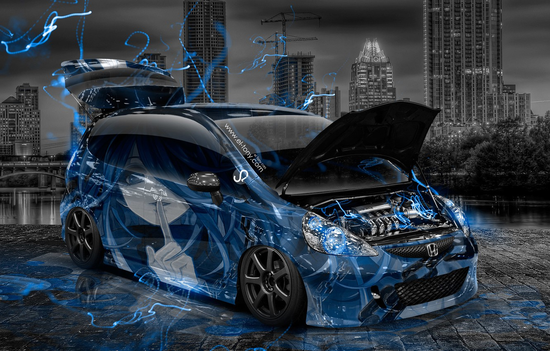 Photo wallpaper Night, Blue, The city, Neon, Style, Girl, Wallpaper, Blue, City, Honda, Honda, Anime, Blue, Photoshop, …