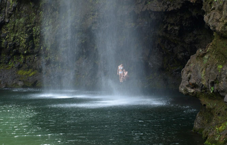 Photo wallpaper rock, lake, waterfall, pair