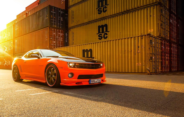 Photo wallpaper Chevrolet, Muscle, Camaro, Orange, Car, Front, Sun, Tuning, Wheels, Beam