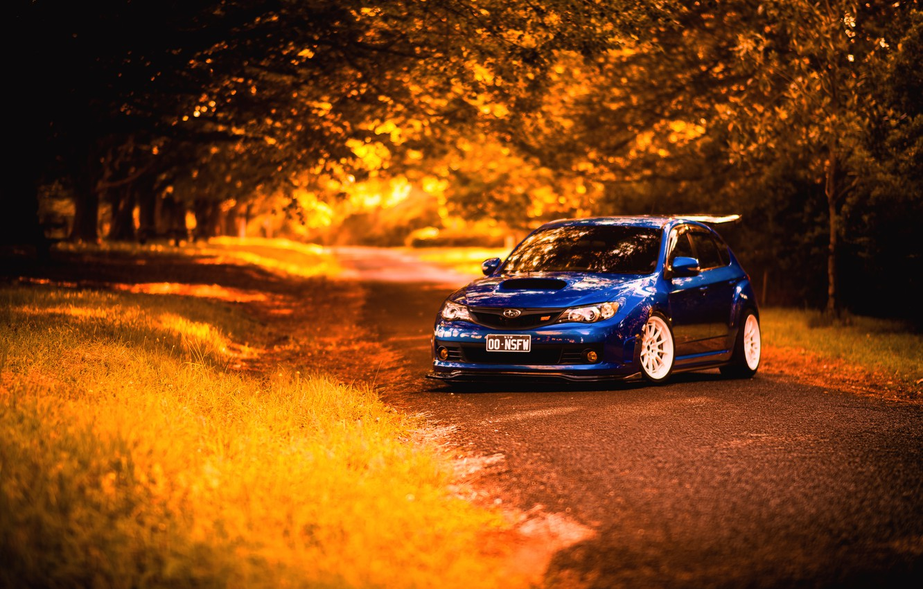 Photo wallpaper autumn, Subaru, Impreza, blue, STI, blue, Subaru, Impreza