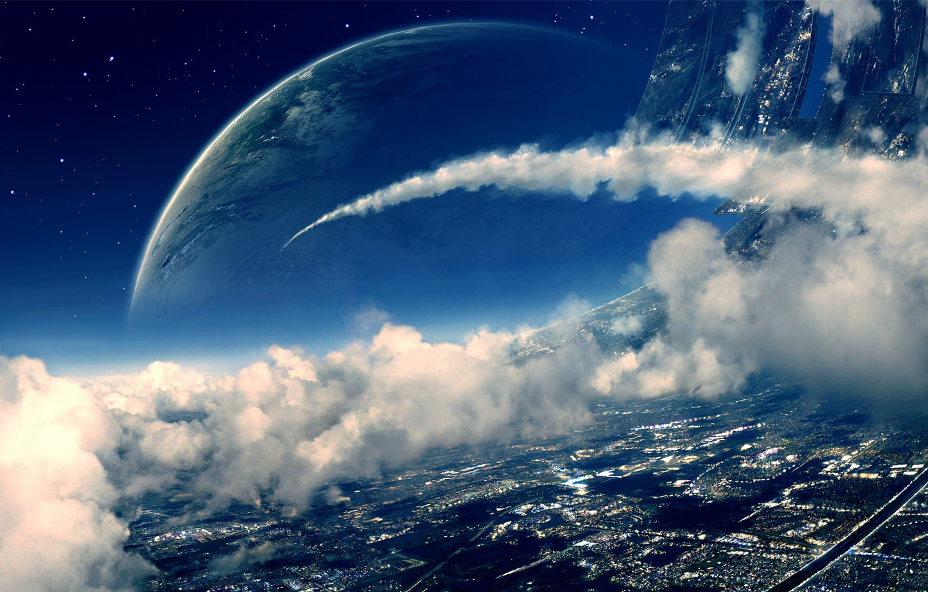 Photo wallpaper space, clouds, planet, art, space station