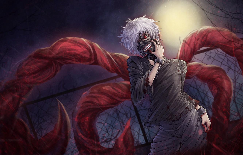 Photo wallpaper blood, guy, anime, Tokyo Ghoul, Ken Kanek